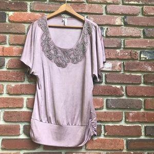 Silky Purple Embellished Women's Beautiful Blouse